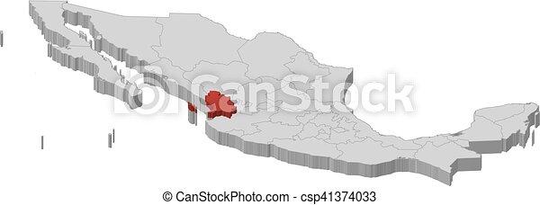 Vectores de mxico mapa 3dillustration  nayarit  Map de