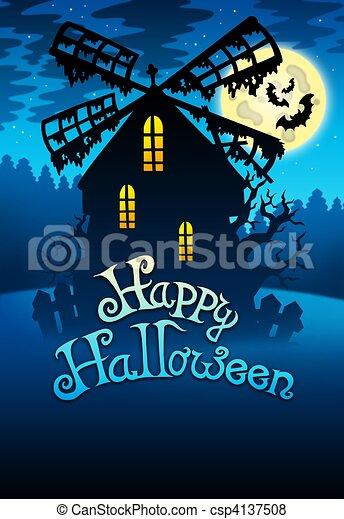 Mysterious Halloween mill 1 - csp4137508
