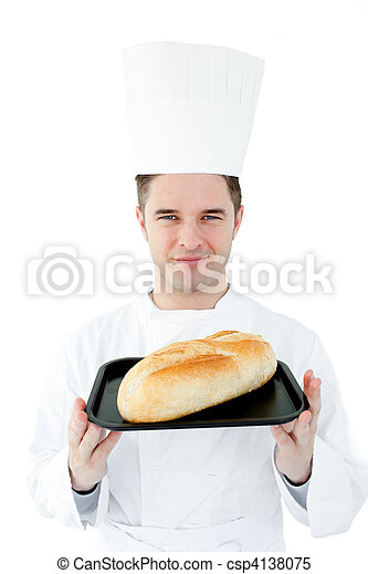 Self-assured chef holding a fresh bread  - csp4138075