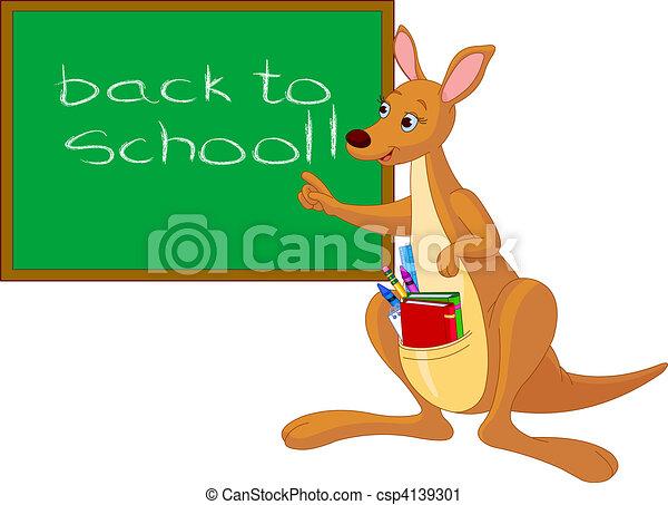 Cartoon Kangaroo near chalkboard - csp4139301