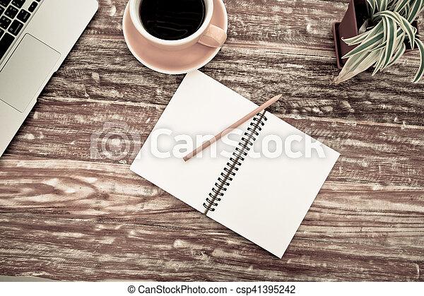 stock foto von bohnenkaffee, altes , becher, hölzern, notizblock, Esszimmer dekoo