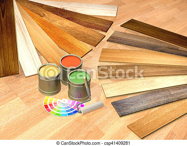 Pictures Of New Oak Parquet And Paints On Wooden Floor 3d