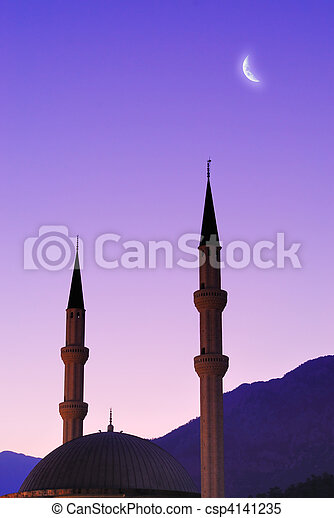 Silhouette of mosque and moon over sky - csp4141235