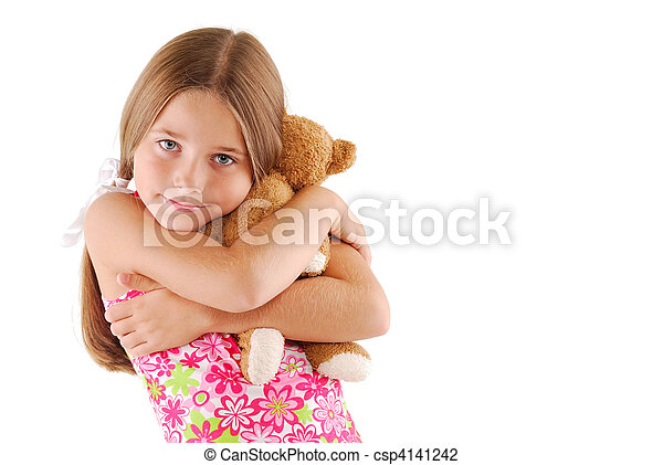 Young Child Hugging A Teddy Bear - csp4141242