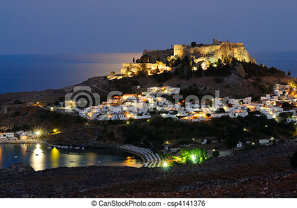Night shot of Lindos town. Rhodes island, Greece - csp4141376