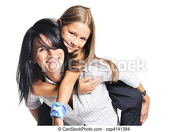 Young mother playing with daughter. On white - csp4141384