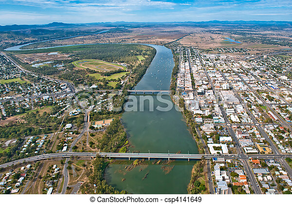 Aerial view of Rockhampton July,2010 - csp4141649