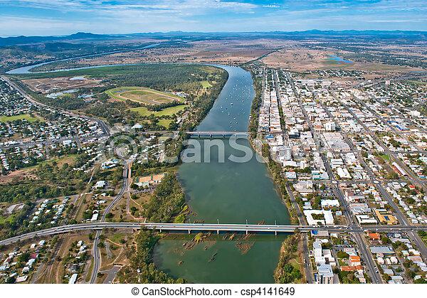 Aerial view of Rockhampton July,2010 - csp4141649
