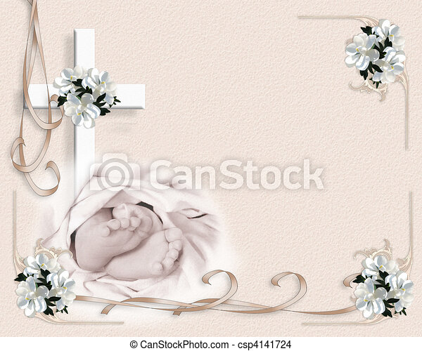Baby Christening invitation  - csp4141724