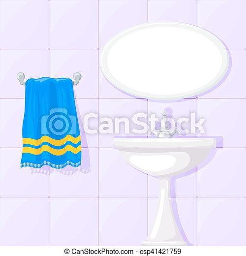 Vektor   Blaues, Badezimmer, Keramisch, Towel., Abbildung, Wände, Waschen,  Vektor, Gekachelt, Spiegel, Becken