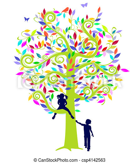vecteurs de couleur arbre enfants couleur arbre et enfants csp4142563 recherchez des. Black Bedroom Furniture Sets. Home Design Ideas