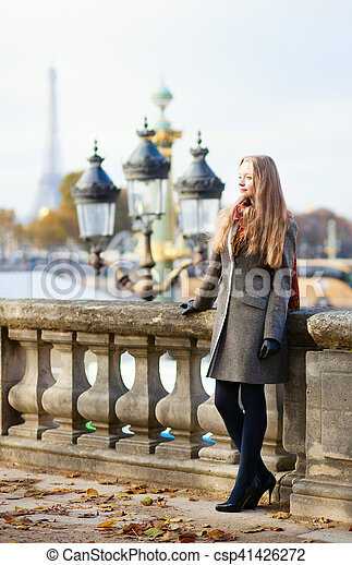 Beautiful young lady in Paris - csp41426272