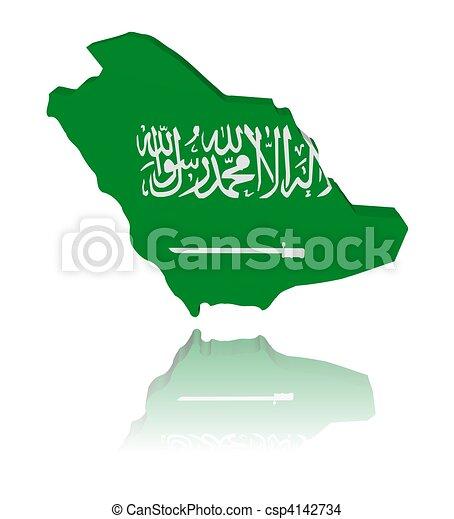 Saudi Arabia Map Flag Saudi Arabia Map Flag With