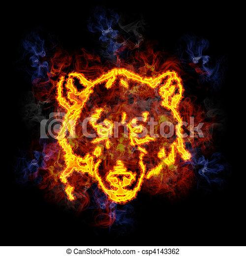 Fiery bear face. - csp4143362