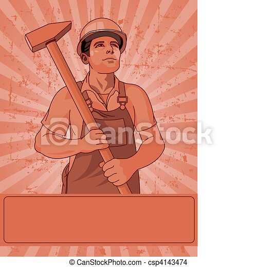 Worker  and a hammer - csp4143474