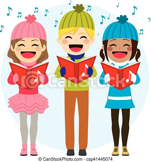 Kids Singing Christmas Carols - csp41445074