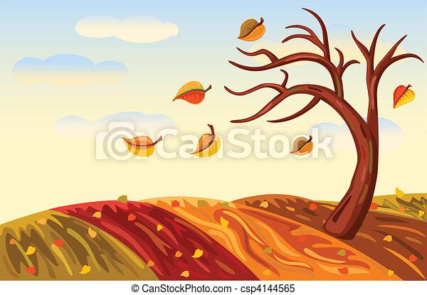 Autumn landscape in rich golden - csp4144565