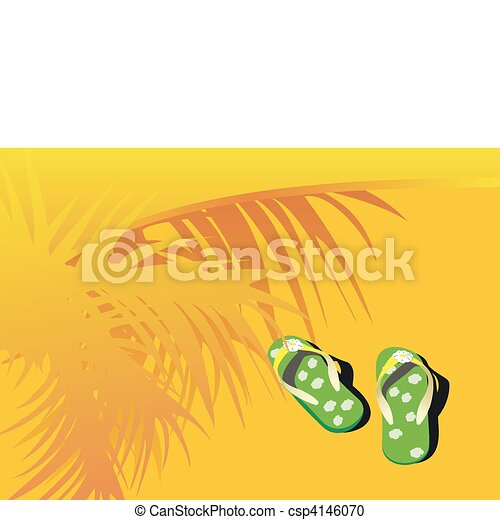 Beach Sandals Drawing Vector Green Beach Sandals