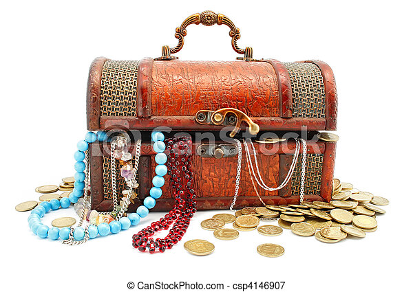 age-old wooden trunk with treasures - csp4146907