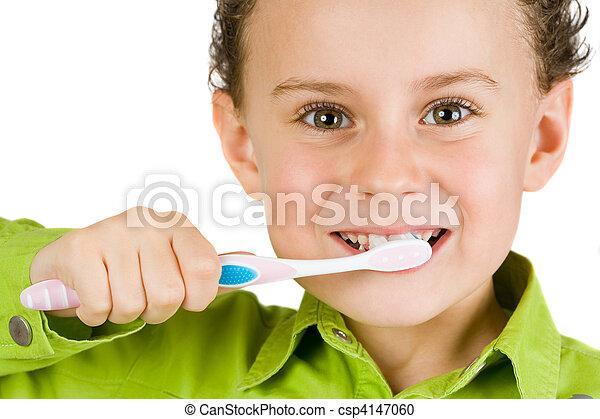 刷, 孩子, 牙齒 - csp4147060