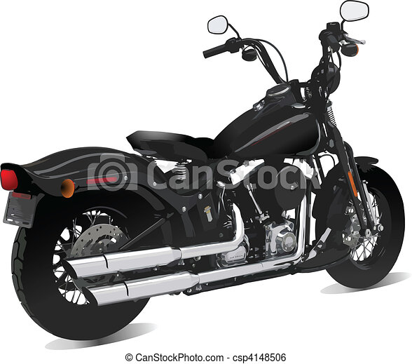 Motorcycle side  view. Vector illu - csp4148506