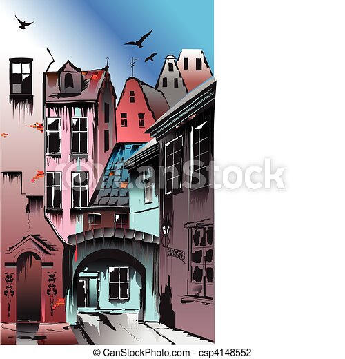 Medieval European city. Collective - csp4148552