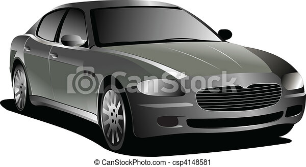 Gray  car. Sedan. Vector illustration - csp4148581
