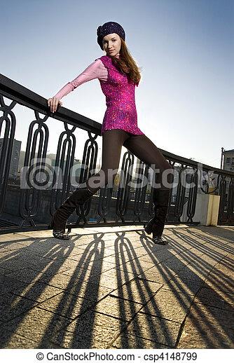 fashion photo of girl on the street - csp4148799