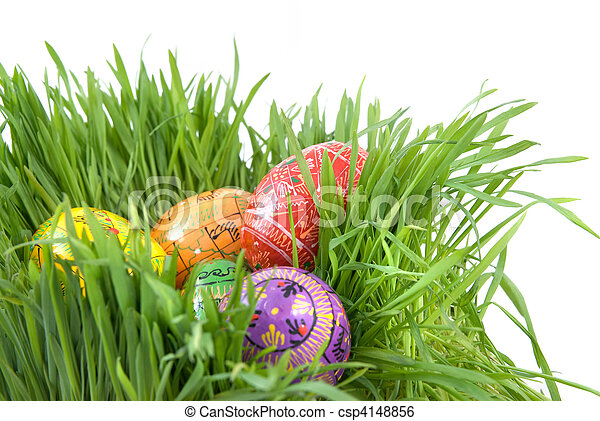 color easter eggs in nest from green grass on white - csp4148856