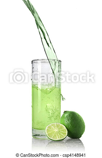 green juice with lime pouring into glass isolated on white - csp4148941