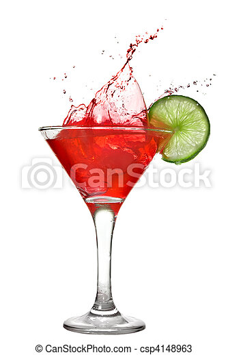 Red cocktail with splash and lime isolated on white - csp4148963