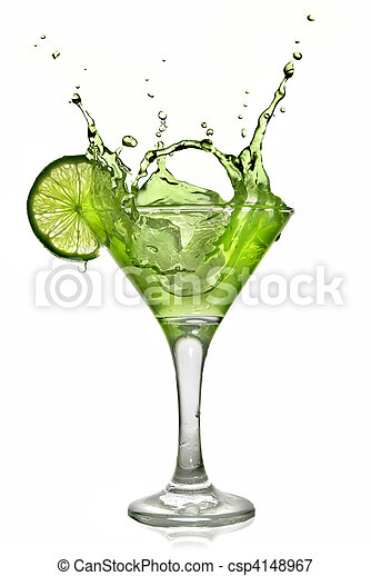 Green alcohol cocktail with splash and green lime isolated on white - csp4148967