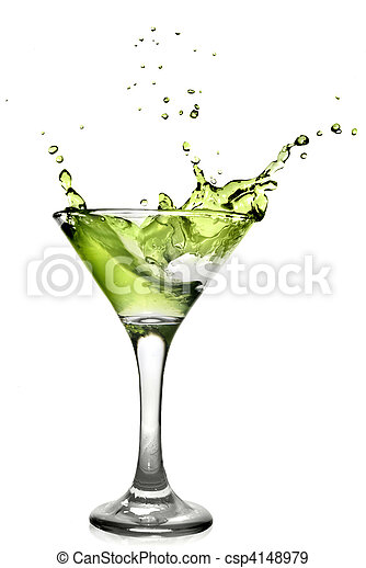 Green alcohol cocktail with splash isolated on white - csp4148979