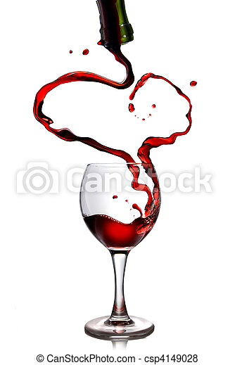 Red wine pouring in goblet from bottle in shape of heart - csp4149028