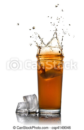 Beautiful splash of cola in glass and ice cubes isolated on white - csp4149046