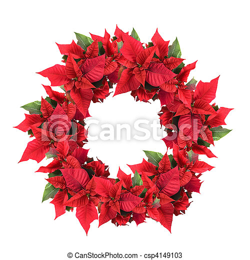 christmas wreath from poinsettia - csp4149103