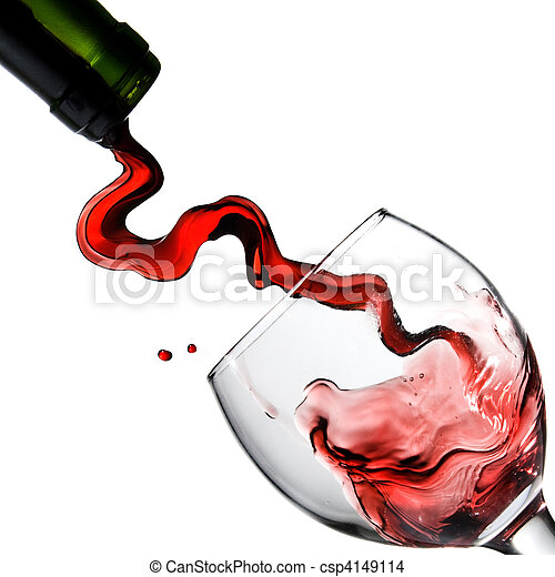 Pouring red wine in glass goblet isolated on white - csp4149114