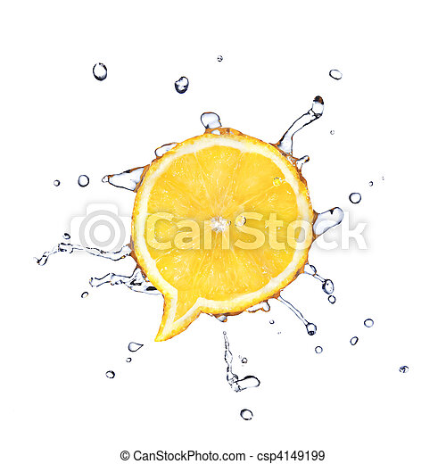 Lemon in shape of dialog box with water drops isolated on white - csp4149199