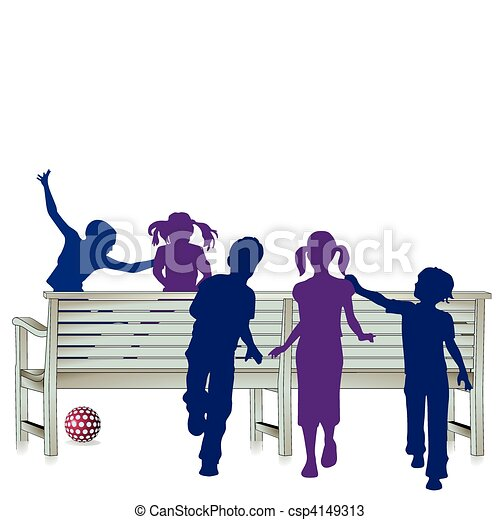Vector - 5 kids and park bench - stock illustration, royalty free ...
