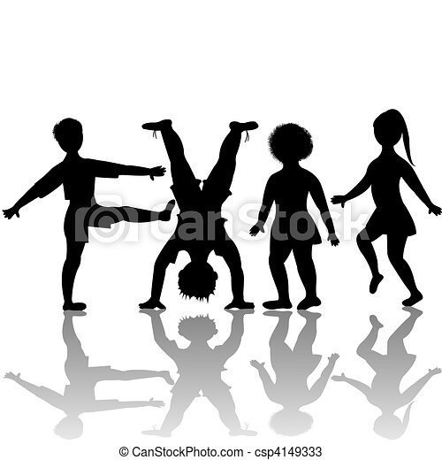 children silhouettes playing - csp4149333