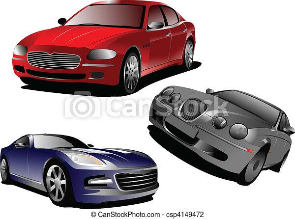 Three cars. Sedan. Vector illustra - csp4149472