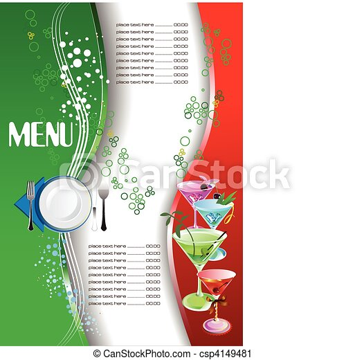 Restaurant (cafe) menu. Colored ve - csp4149481