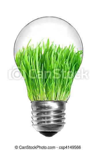 自然, 概念, ライト, エネルギー, 隔離された, 緑, 電球, 白, 草, 中 - csp4149566