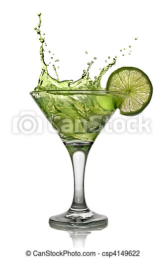 Green alcohol cocktail with splash and green lime isolated on white - csp4149622