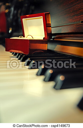 Wedding rings on the piano - csp4149673