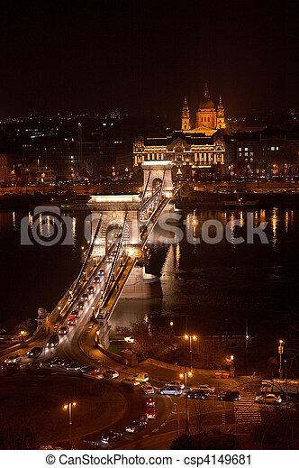 Budapest, the chain bridge - csp4149681