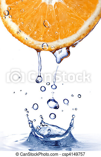 fresh water drops on orange with water splash isolated on white - csp4149757