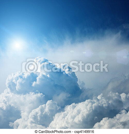 dramatic storm clouds with sun - csp4149916