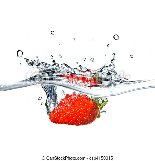 Fresh strawberry dropped into blue water with splash isolated on white - csp4150015