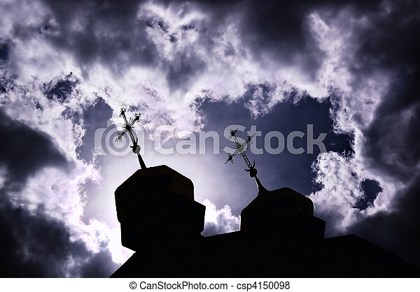 silhouette of church with crosses - csp4150098